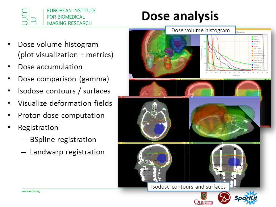 Dose volume histogram (plot visualization + metrics) Dose accumulation Dose comparison (gamma) Isodose contours / surfaces Visualize deformation fields Proton dose computation Registration – BSpline registration – Landwarp registration Dose volume histogram Isodose contours and surfaces Dose analysis
