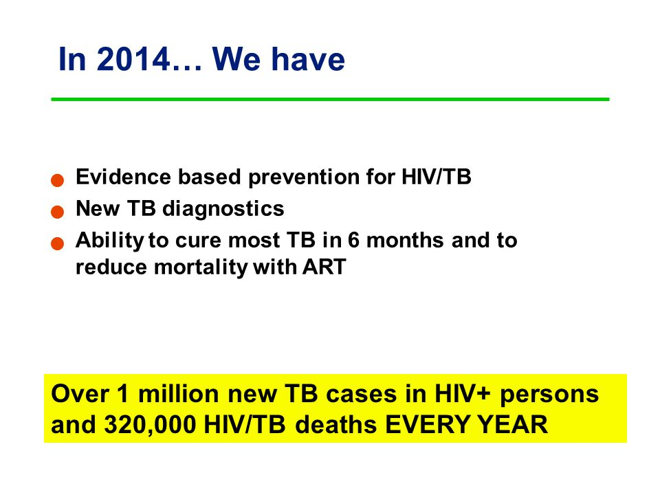 In 2014… We have Evidence based prevention for HIV/TB New TB diagnostics Ability to cure most TB in 6 months and to reduce mortality with ART Over 1 million new TB cases in HIV+ persons and 320,000 HIV/TB deaths EVERY YEAR
