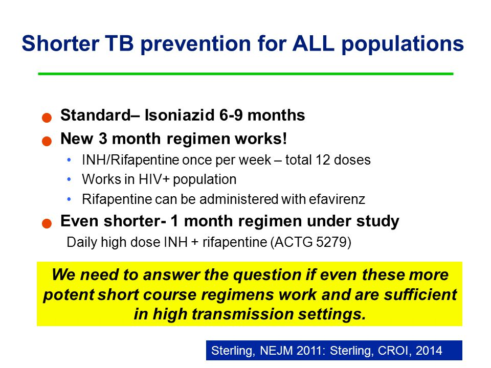 Shorter TB prevention for ALL populations Standard– Isoniazid 6-9 months New 3 month regimen works.