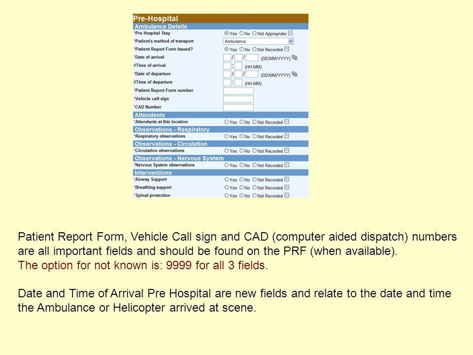 Patient Report Form, Vehicle Call sign and CAD (computer aided dispatch) numbers are all important fields and should be found on the PRF (when availab