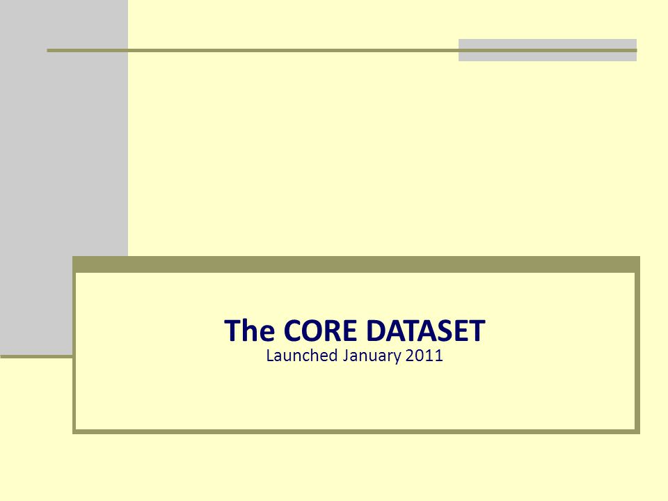 The CORE DATASET Launched January 2011