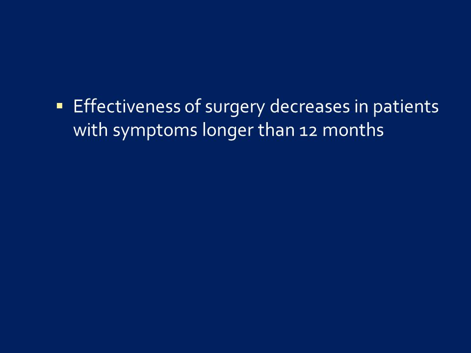  Effectiveness of surgery decreases in patients with symptoms longer than 12 months