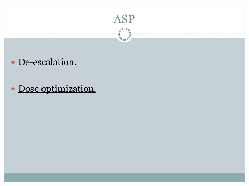 ASP De-escalation. Dose optimization.