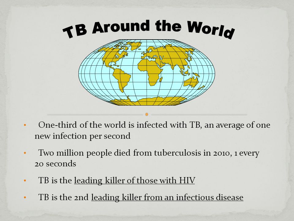 One-third of the world is infected with TB, an average of one new infection per second Two million people died from tuberculosis in 2010, 1 every 20 seconds TB is the leading killer of those with HIV TB is the 2nd leading killer from an infectious disease