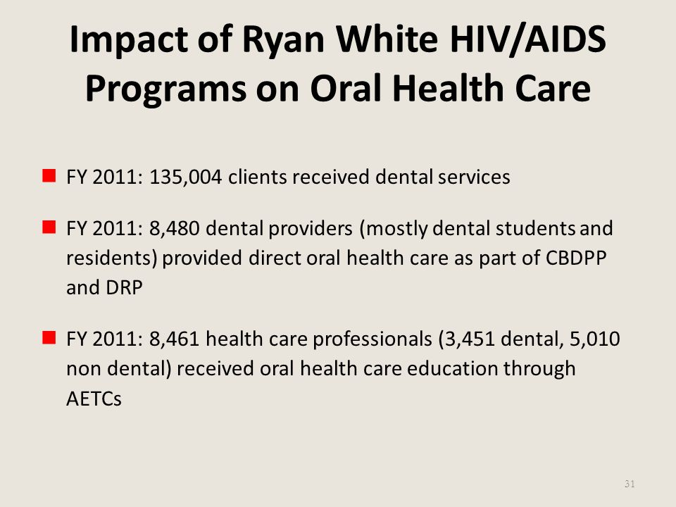 Impact of Ryan White HIV/AIDS Programs on Oral Health Care FY 2011: 135,004 clients received dental services FY 2011: 8,480 dental providers (mostly d