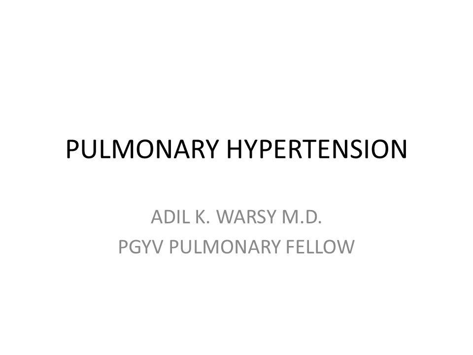 PULMONARY HYPERTENSION ADIL K. WARSY M.D. PGYV PULMONARY FELLOW