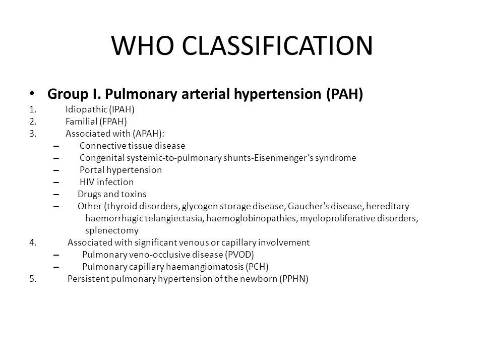 WHO CLASSIFICATION Group I.Pulmonary arterial hypertension (PAH) 1.