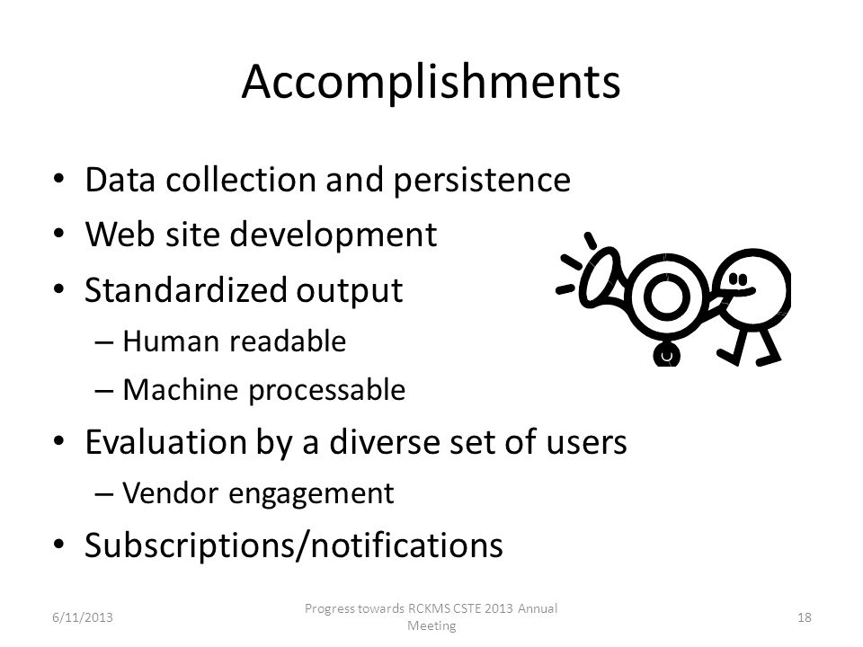 Accomplishments Data collection and persistence Web site development Standardized output – Human readable – Machine processable Evaluation by a divers