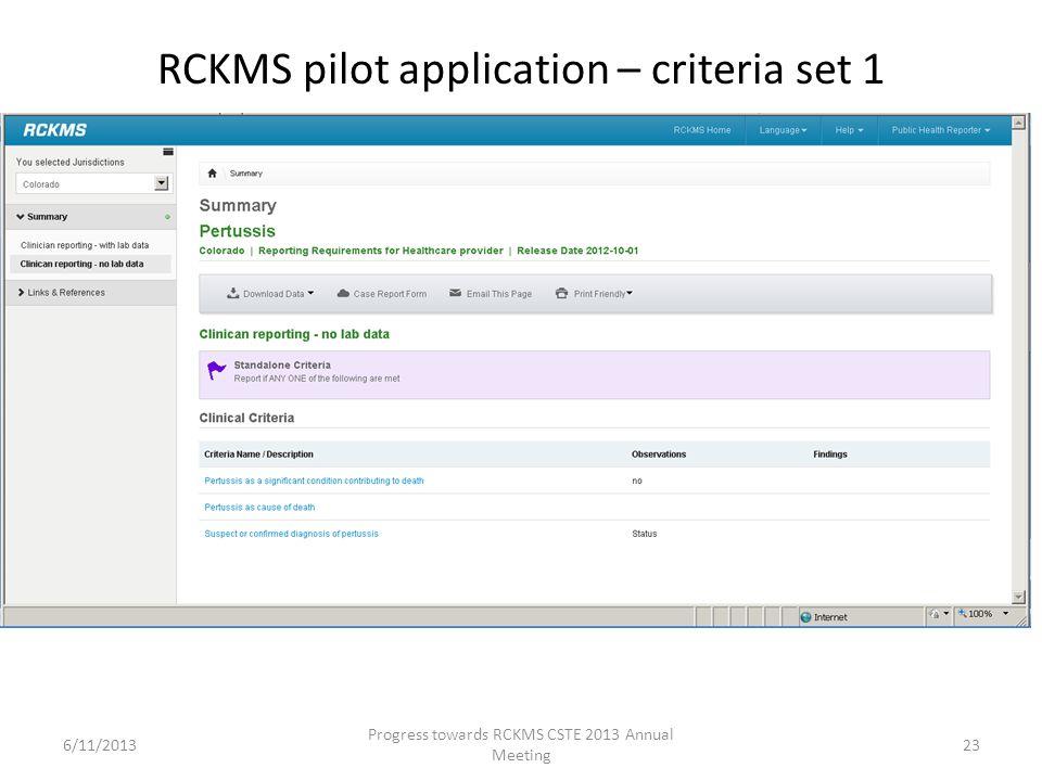 RCKMS pilot application – criteria set 1 23 Progress towards RCKMS CSTE 2013 Annual Meeting 6/11/2013