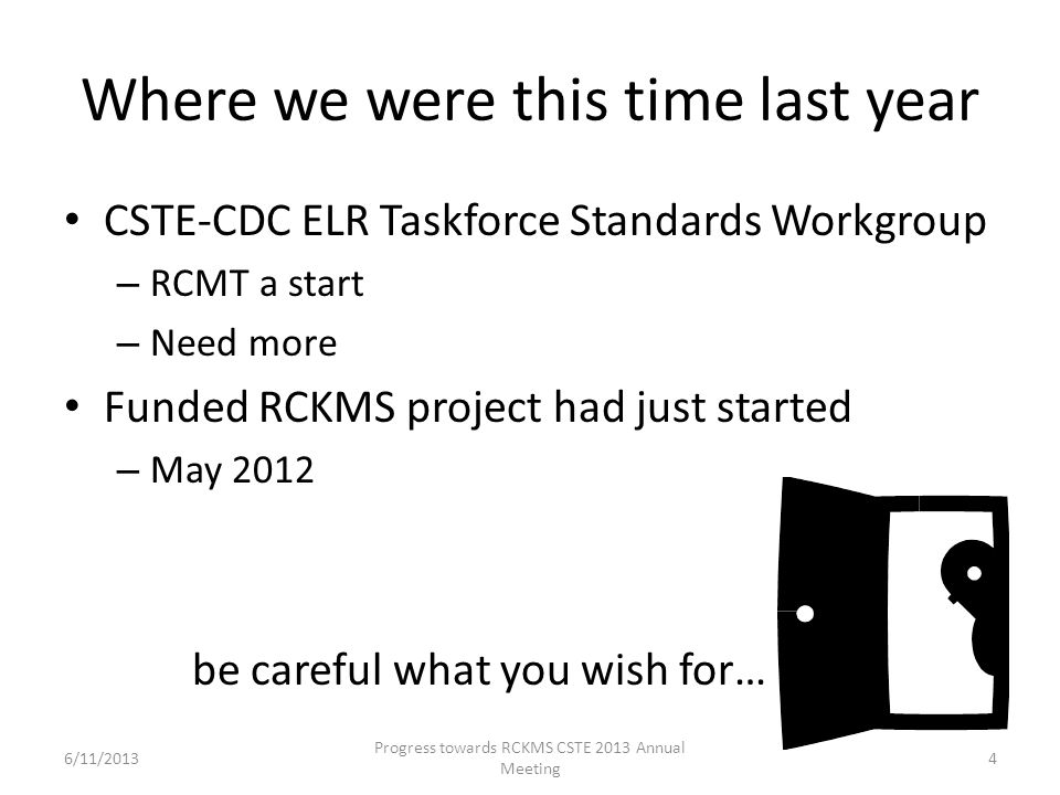 Where we were this time last year CSTE-CDC ELR Taskforce Standards Workgroup – RCMT a start – Need more Funded RCKMS project had just started – May 20