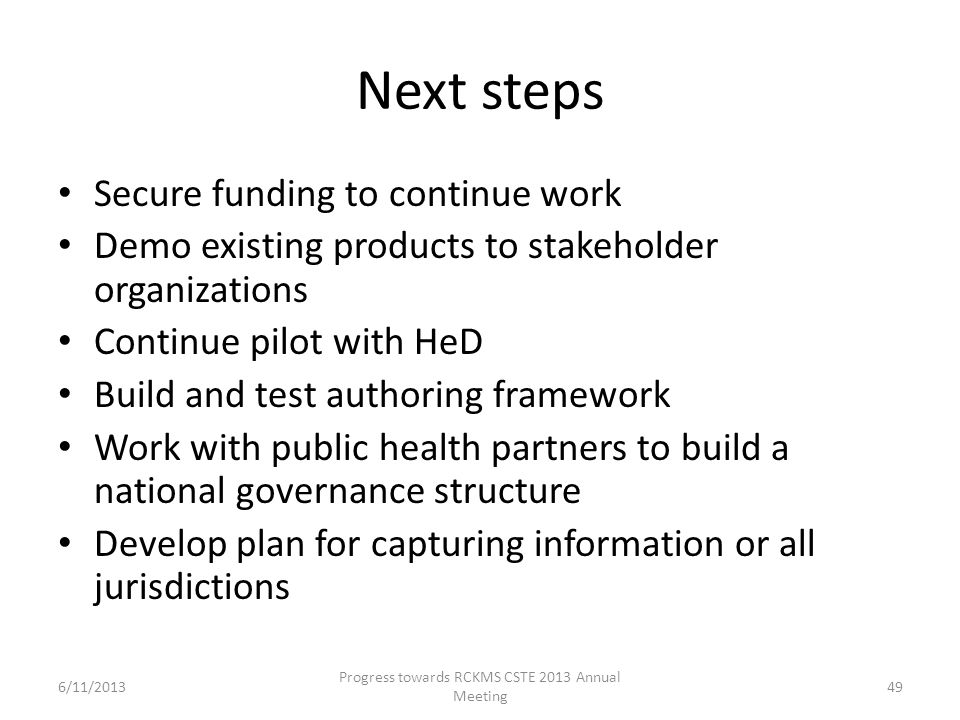Next steps Secure funding to continue work Demo existing products to stakeholder organizations Continue pilot with HeD Build and test authoring framew