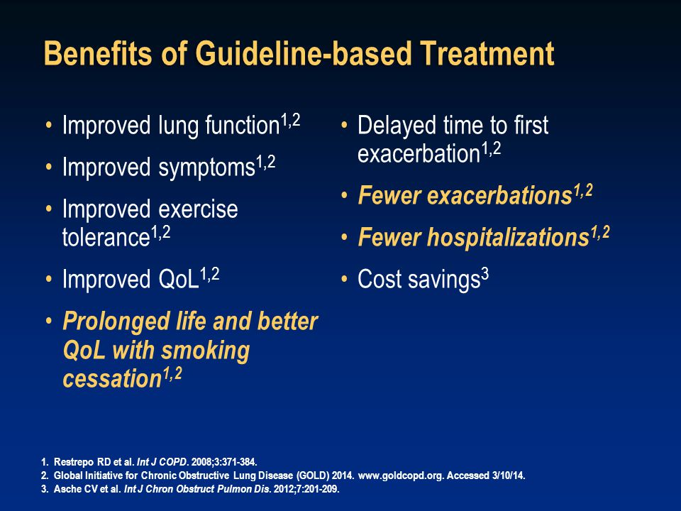 Benefits of Guideline-based Treatment Improved lung function 1,2 Improved symptoms 1,2 Improved exercise tolerance 1,2 Improved QoL 1,2 Prolonged life