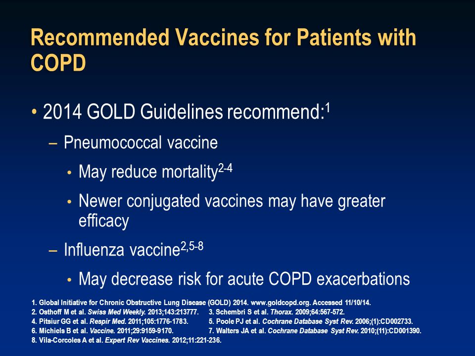 Recommended Vaccines for Patients with COPD 2014 GOLD Guidelines recommend: 1 –Pneumococcal vaccine May reduce mortality 2-4 Newer conjugated vaccines