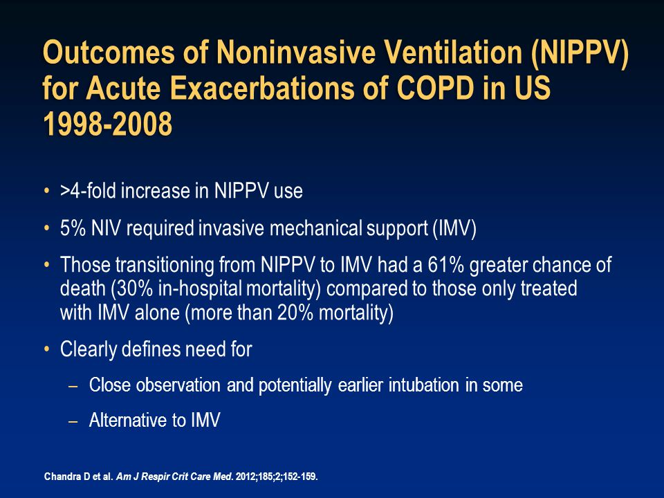 Outcomes of Noninvasive Ventilation (NIPPV) for Acute Exacerbations of COPD in US 1998-2008 >4-fold increase in NIPPV use 5% NIV required invasive mec