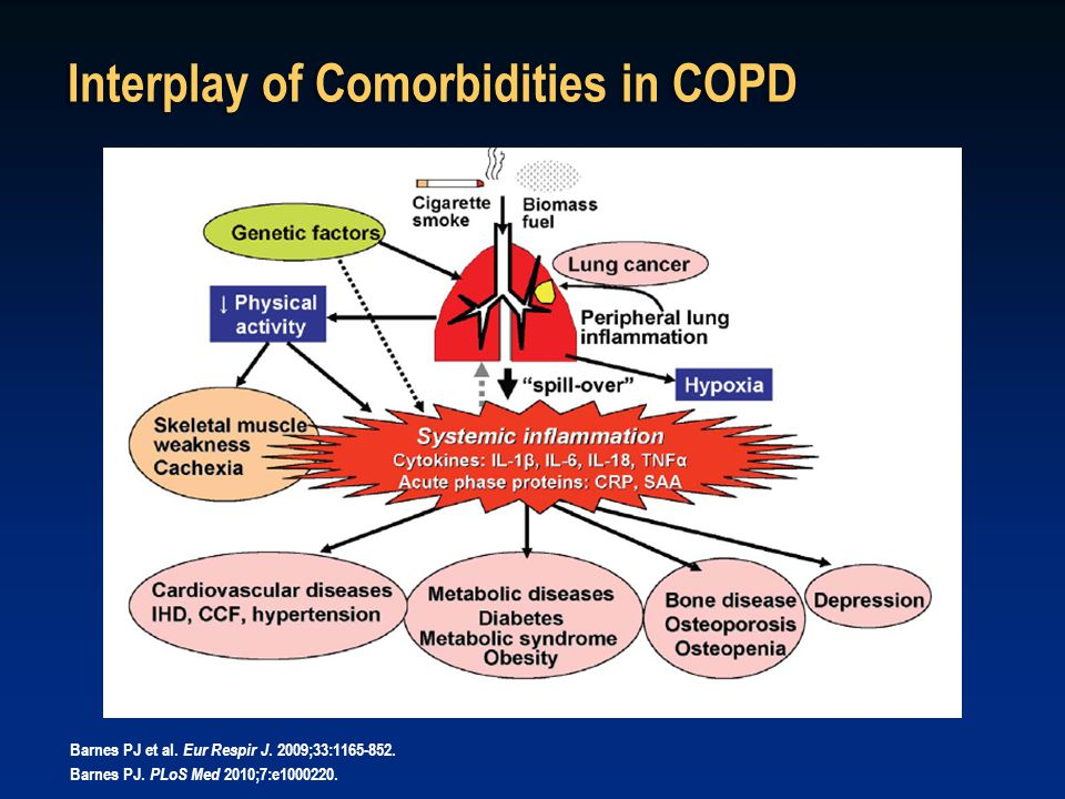 Interplay of Comorbidities in COPD Barnes PJ et al. Eur Respir J. 2009;33:1165-852. Barnes PJ. PLoS Med 2010;7:e1000220.