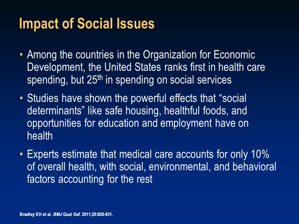 Impact of Social Issues Among the countries in the Organization for Economic Development, the United States ranks first in health care spending, but 2
