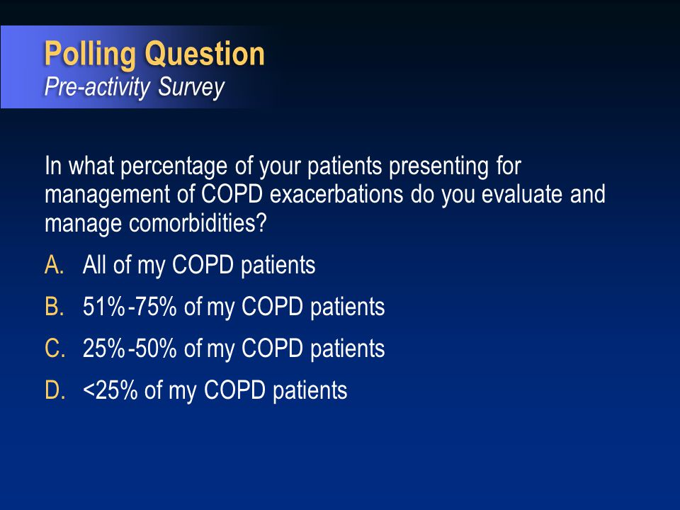 Please rate your level of familiarity with the CMS Core Measures for COPD: 12345 Not at all familiar Expert Polling Question Pre-activity Survey