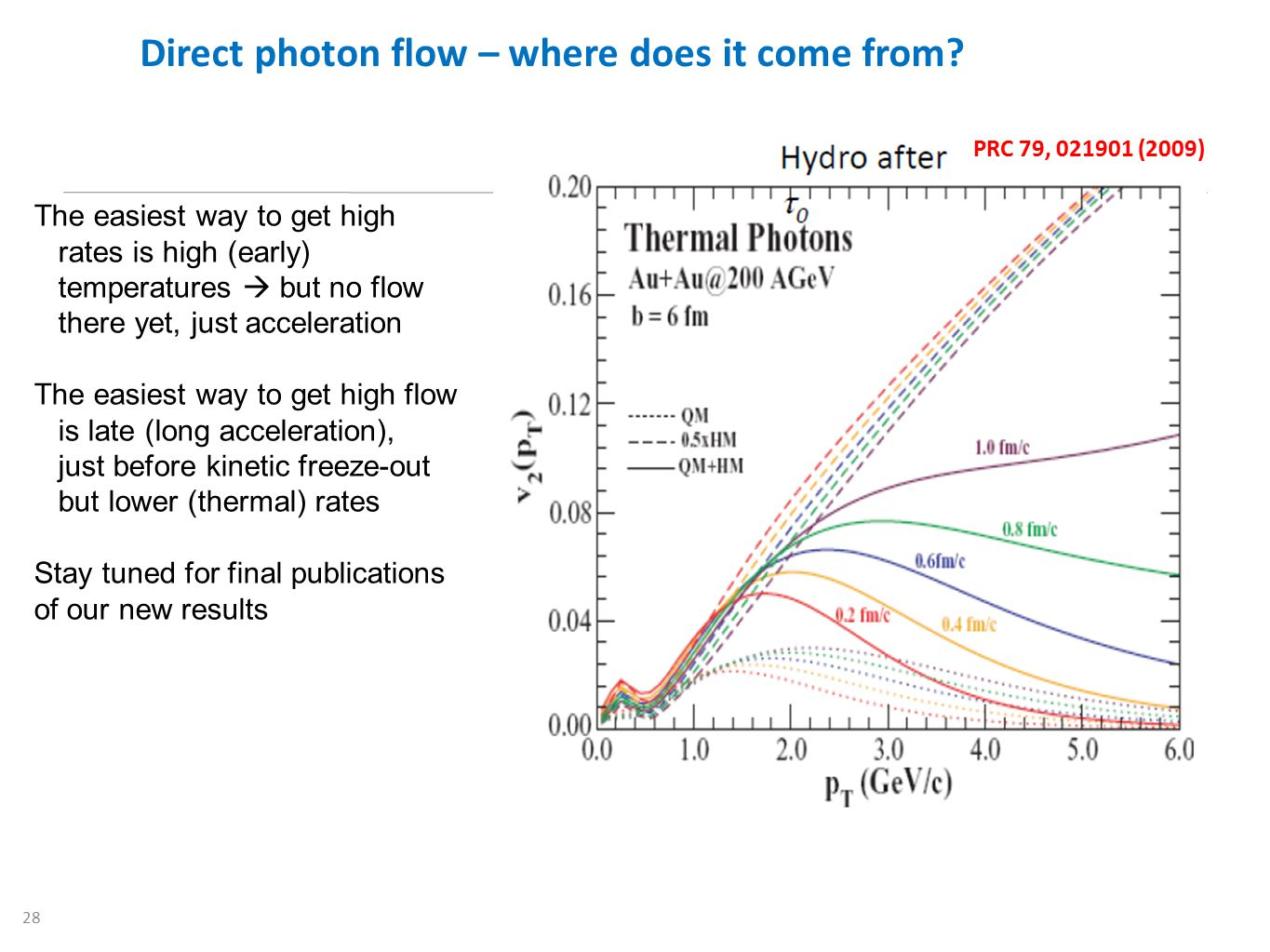 28 Direct photon flow – where does it come from? PRC 79, 021901 (2009) The easiest way to get high rates is high (early) temperatures  but no flow th