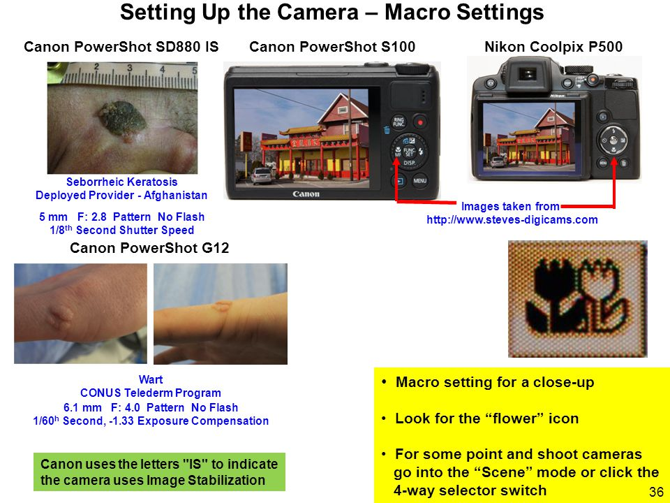 "Macro setting for a close-up Look for the ""flower"" icon For some point and shoot cameras go into the ""Scene"" mode or click the 4-way selector switch S"