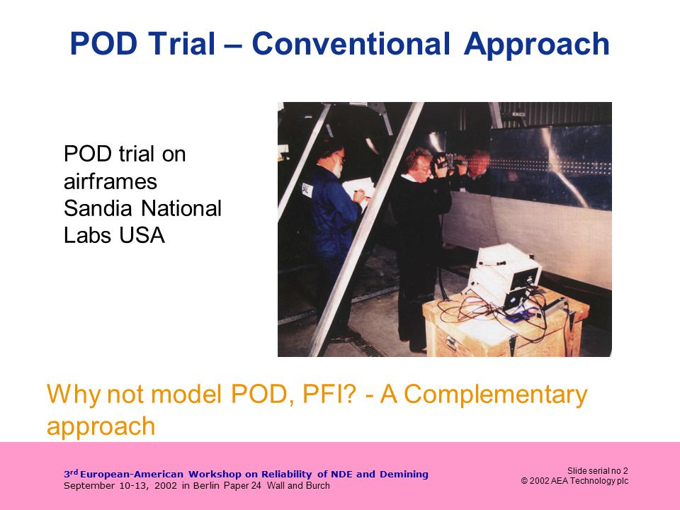 Slide serial no 2 © 2002 AEA Technology plc 3 rd European-American Workshop on Reliability of NDE and Demining September 10-13, 2002 in Berlin Paper 24 Wall and Burch POD Trial – Conventional Approach Why not model POD, PFI.