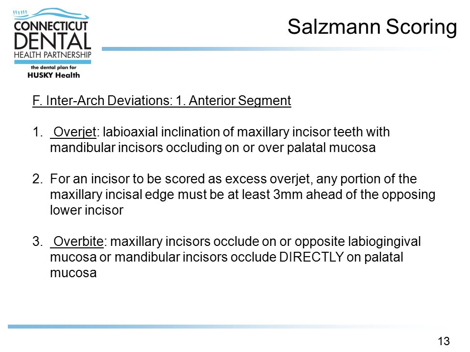 Salzmann Scoring 13 F. Inter-Arch Deviations: 1. Anterior Segment 1. Overjet: labioaxial inclination of maxillary incisor teeth with mandibular inciso