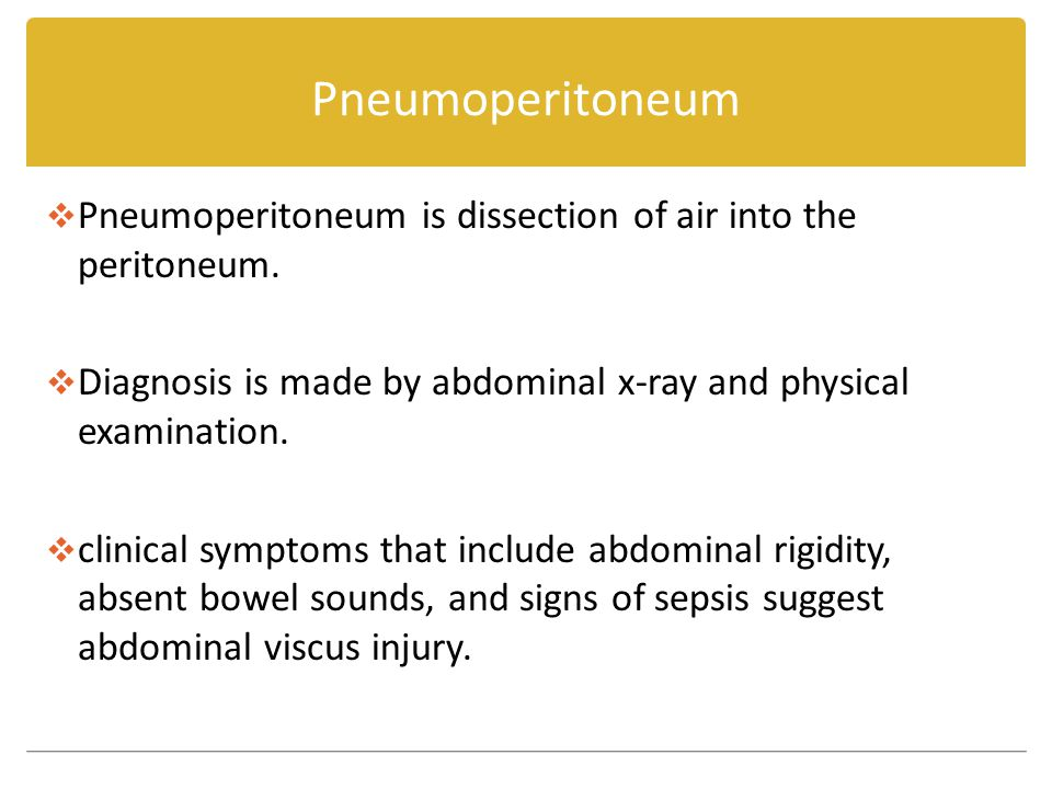 Pneumoperitoneum  Pneumoperitoneum is dissection of air into the peritoneum.
