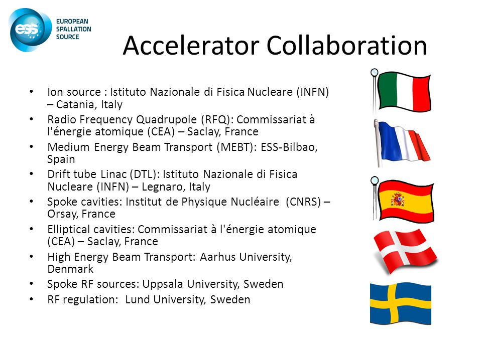 Accelerator Collaboration Ion source : Istituto Nazionale di Fisica Nucleare (INFN) – Catania, Italy Radio Frequency Quadrupole (RFQ): Commissariat à l énergie atomique (CEA) – Saclay, France Medium Energy Beam Transport (MEBT): ESS-Bilbao, Spain Drift tube Linac (DTL): Istituto Nazionale di Fisica Nucleare (INFN) – Legnaro, Italy Spoke cavities: Institut de Physique Nucléaire (CNRS) – Orsay, France Elliptical cavities: Commissariat à l énergie atomique (CEA) – Saclay, France High Energy Beam Transport: Aarhus University, Denmark Spoke RF sources: Uppsala University, Sweden RF regulation: Lund University, Sweden