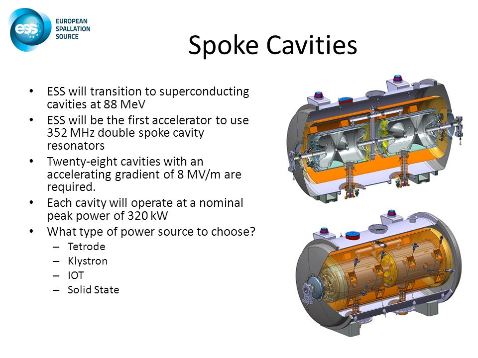 Spoke Cavities ESS will transition to superconducting cavities at 88 MeV ESS will be the first accelerator to use 352 MHz double spoke cavity resonators Twenty-eight cavities with an accelerating gradient of 8 MV/m are required.