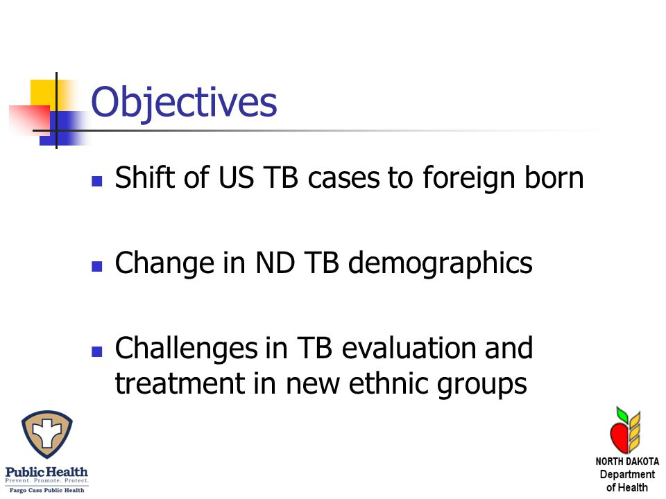 Objectives Shift of US TB cases to foreign born Change in ND TB demographics Challenges in TB evaluation and treatment in new ethnic groups