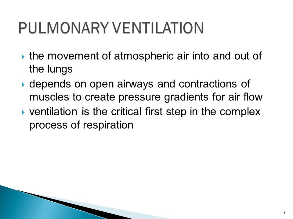  the movement of atmospheric air into and out of the lungs  depends on open airways and contractions of muscles to create pressure gradients for air flow  ventilation is the critical first step in the complex process of respiration 3