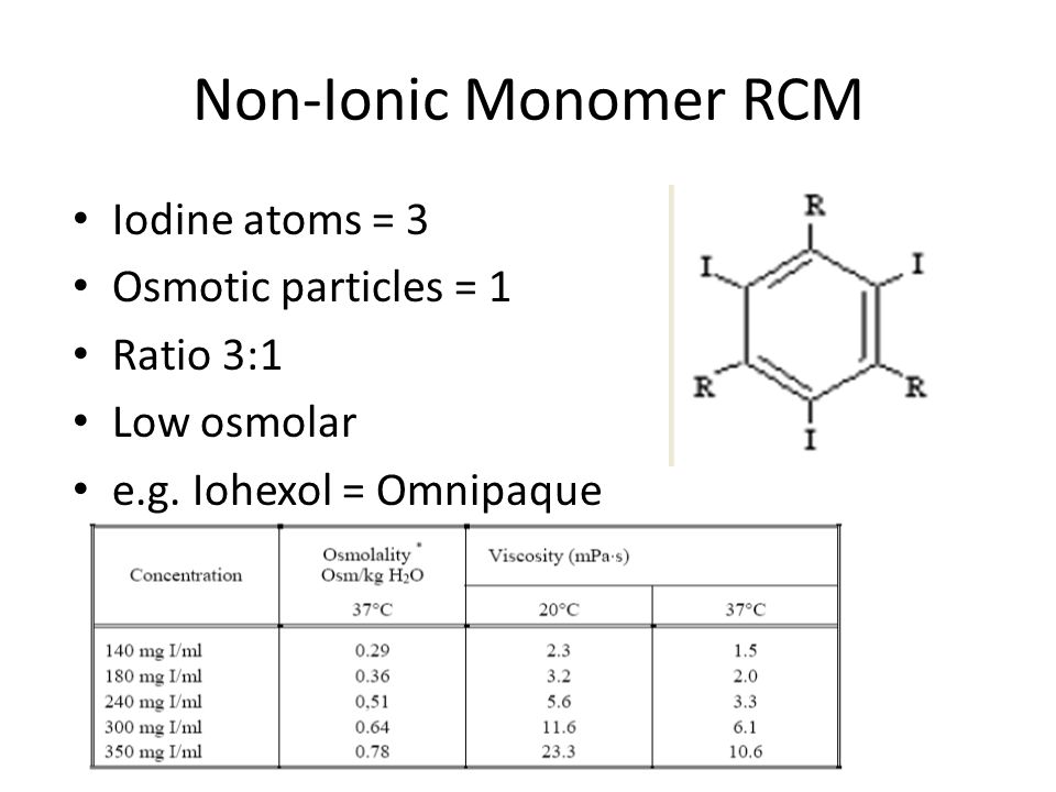 Non-Ionic Monomer RCM Iodine atoms = 3 Osmotic particles = 1 Ratio 3:1 Low osmolar e.g. Iohexol = Omnipaque