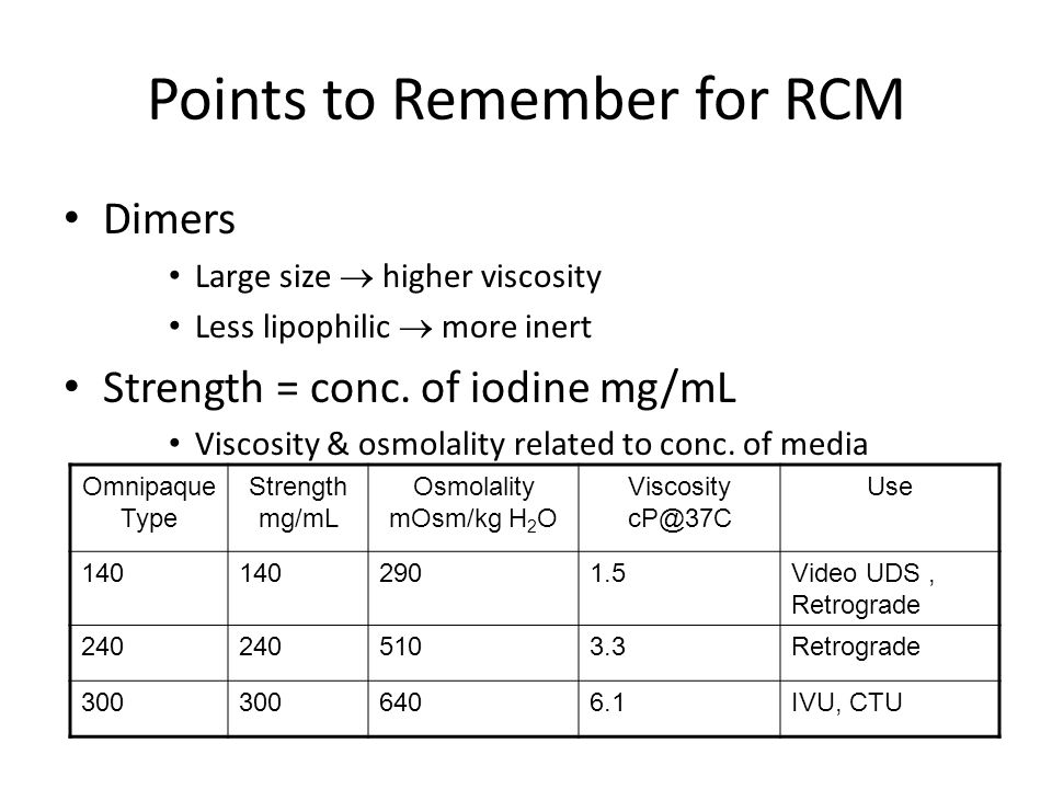 Points to Remember for RCM Dimers Large size  higher viscosity Less lipophilic  more inert Strength = conc. of iodine mg/mL Viscosity & osmolality r
