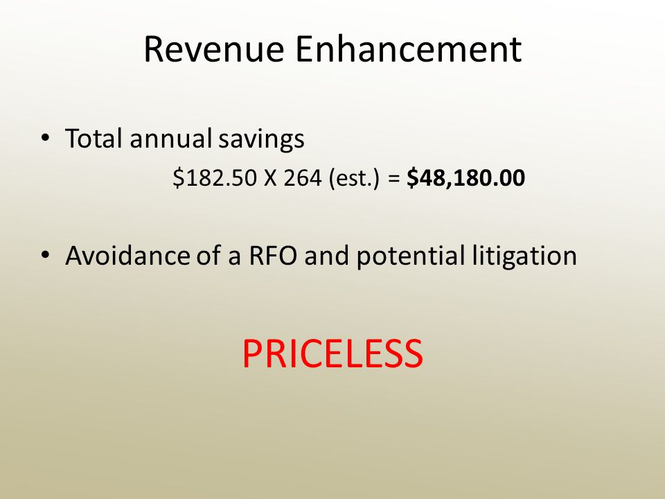 Revenue Enhancement Total annual savings $182.50 X 264 (est.) = $48,180.00 Avoidance of a RFO and potential litigation PRICELESS