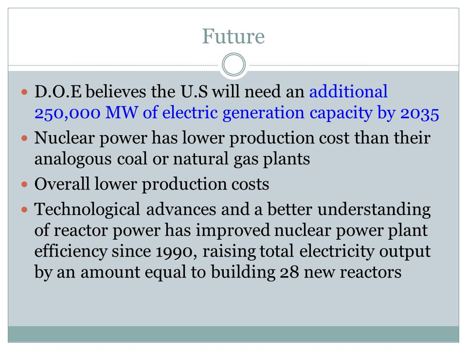 Future D.O.E believes the U.S will need an additional 250,000 MW of electric generation capacity by 2035 Nuclear power has lower production cost than their analogous coal or natural gas plants Overall lower production costs Technological advances and a better understanding of reactor power has improved nuclear power plant efficiency since 1990, raising total electricity output by an amount equal to building 28 new reactors