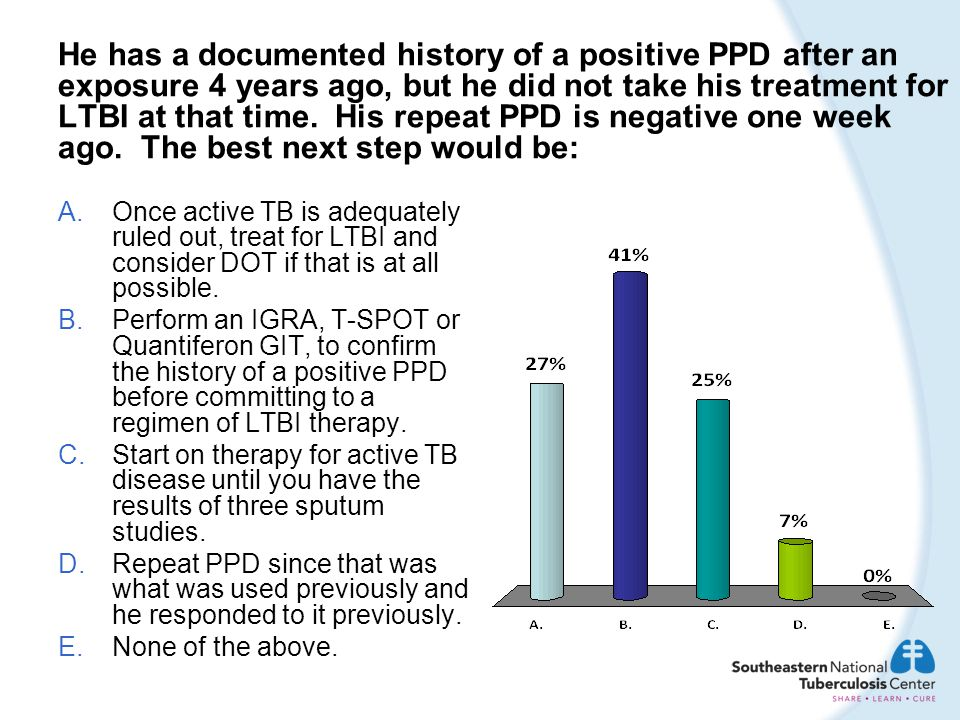 He has a documented history of a positive PPD after an exposure 4 years ago, but he did not take his treatment for LTBI at that time. His repeat PPD i