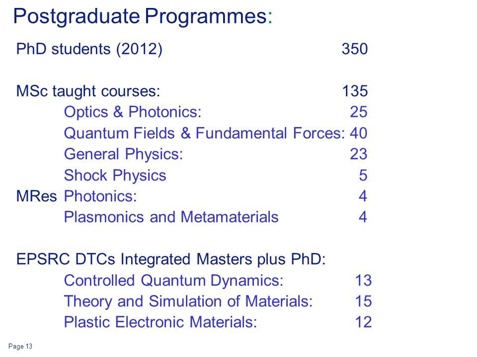 Postgraduate Programmes: PhD students (2012) 350 MSc taught courses: 135 Optics & Photonics: 25 Quantum Fields & Fundamental Forces:40 General Physics