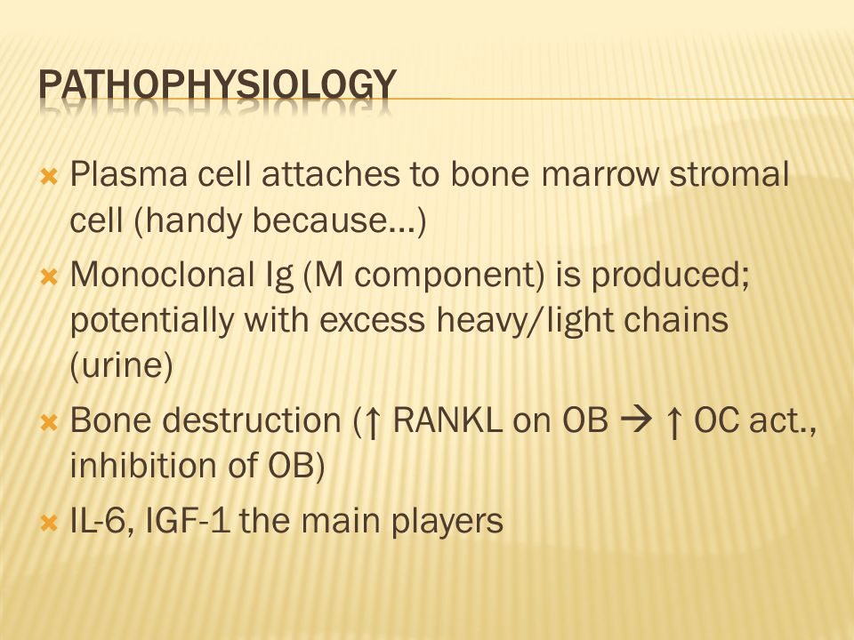  Plasma cell attaches to bone marrow stromal cell (handy because…)  Monoclonal Ig (M component) is produced; potentially with excess heavy/light chains (urine)  Bone destruction (↑ RANKL on OB  ↑ OC act., inhibition of OB)  IL-6, IGF-1 the main players