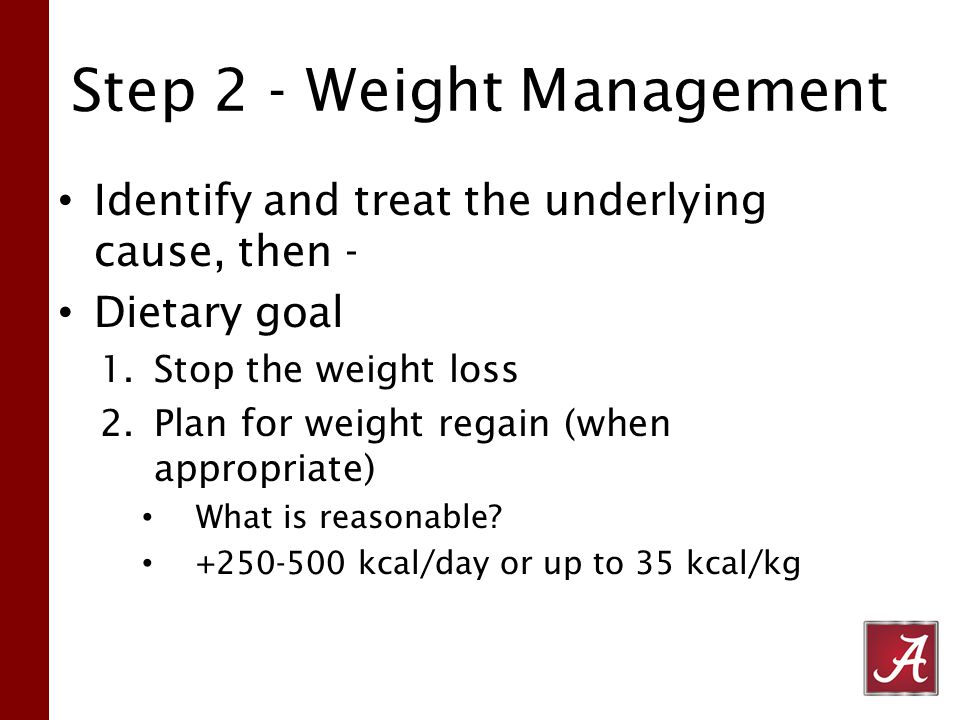 Step 2 - Weight Management Identify and treat the underlying cause, then - Dietary goal 1.Stop the weight loss 2.Plan for weight regain (when appropriate) What is reasonable.
