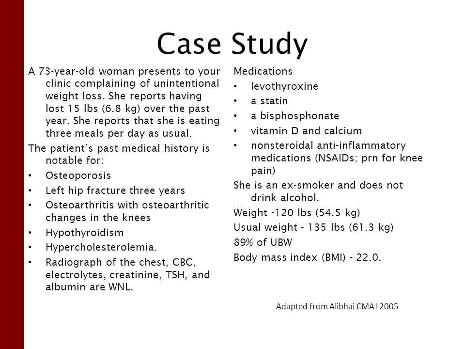 Case Study A 73-year-old woman presents to your clinic complaining of unintentional weight loss.