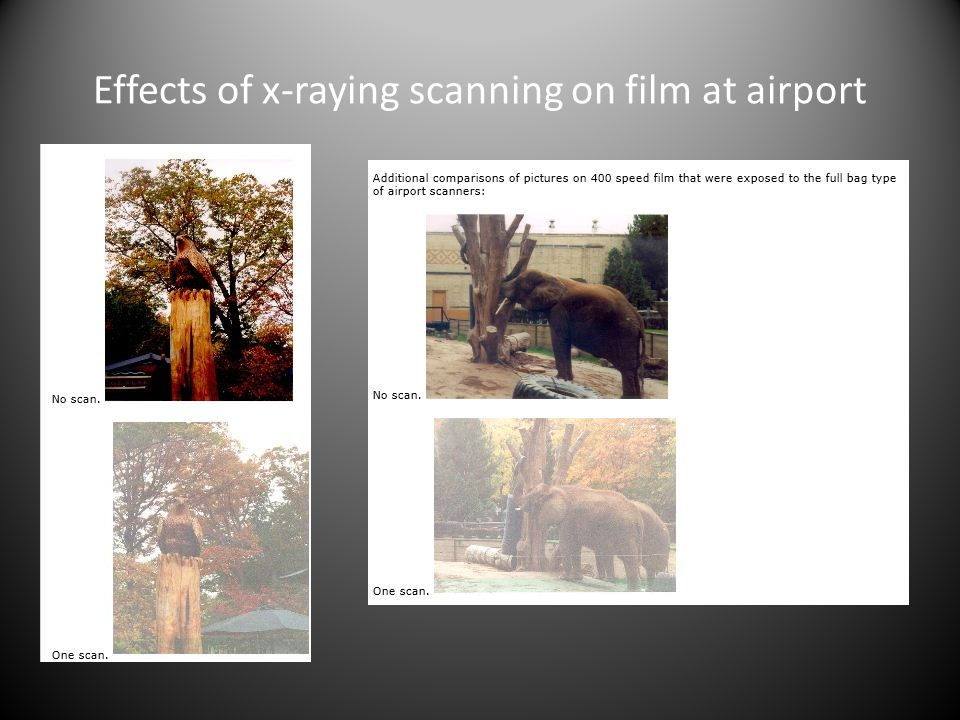 Effects of x-raying scanning on film at airport