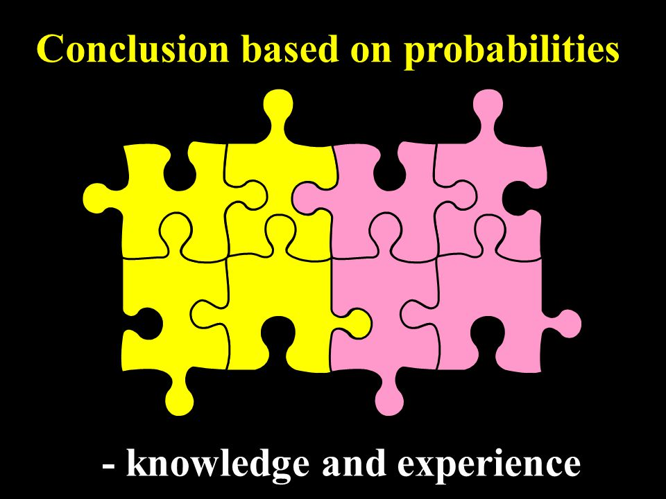 - knowledge and experience Conclusion based on probabilities