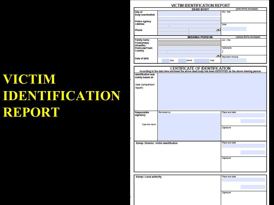 VICTIM IDENTIFICATION REPORT