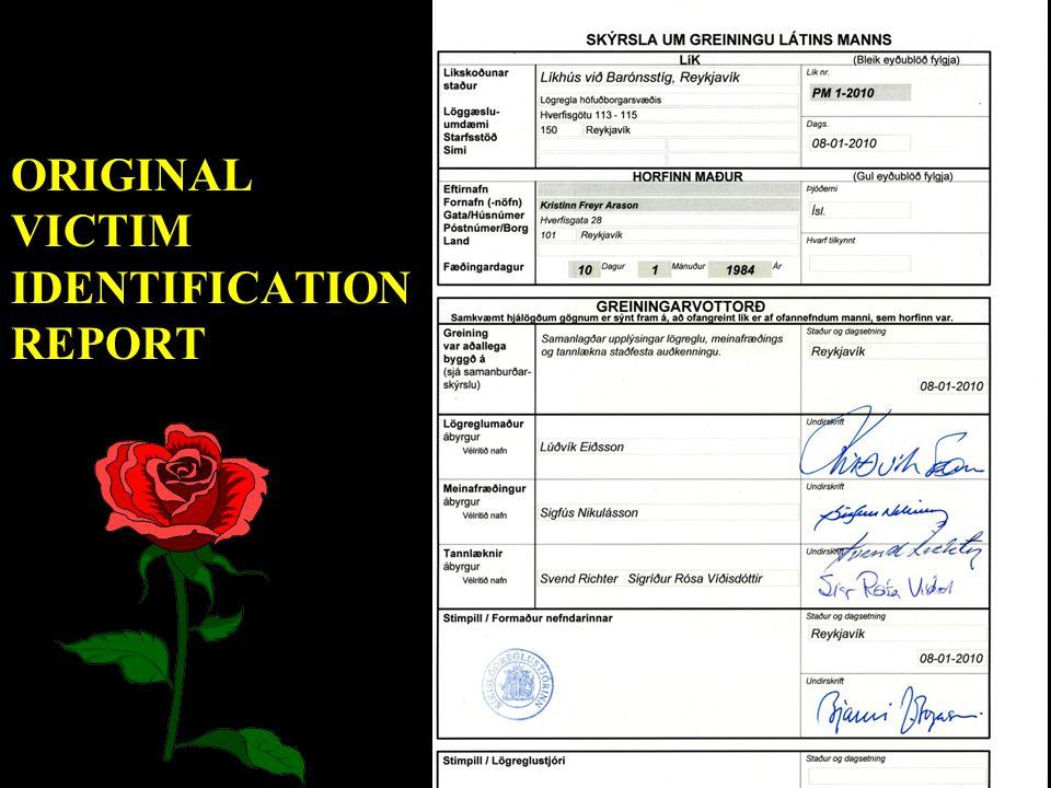ORIGINAL VICTIM IDENTIFICATION REPORT