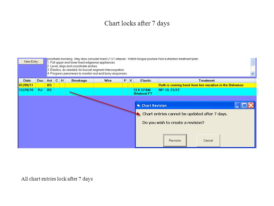 Chart Revision New chart revision feature shows the chart entry being revised (top) and the revised entry (below).
