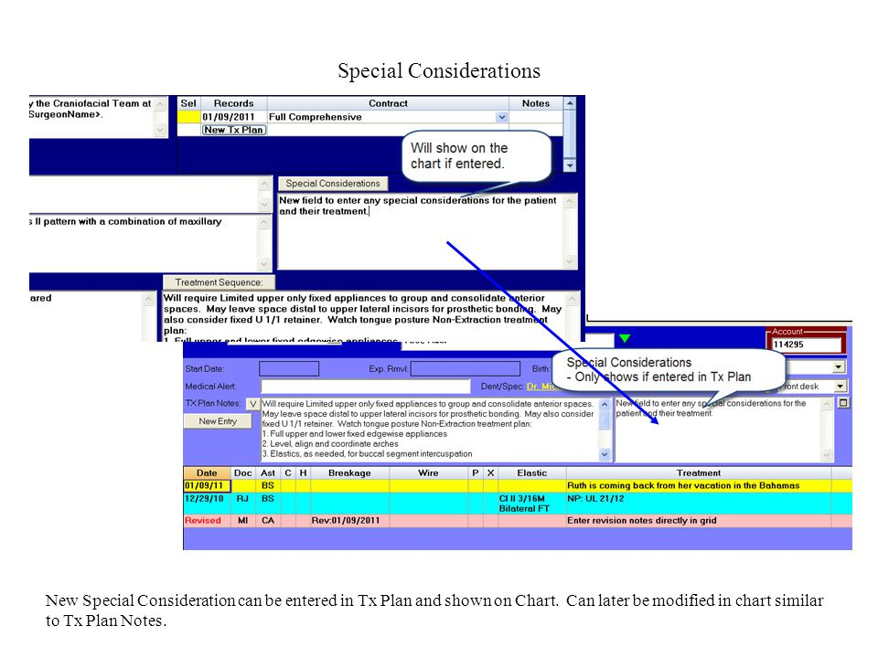 Special Considerations New Special Consideration can be entered in Tx Plan and shown on Chart.