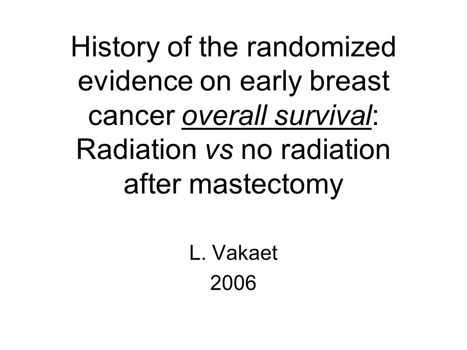 The effect of RT on the chance of locoregional recurrence after mastectomy (node positive patients) Lancet 2005