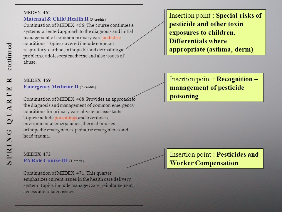 S P R I N G Q U A R T E R continued Insertion point : Special risks of pesticide and other toxin exposures to children.