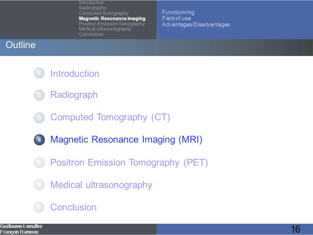 16 Outline Introduction Radiograph Computed Tomography (CT) Magnetic Resonance Imaging (MRI) Positron Emission Tomography (PET) Medical ultrasonograph