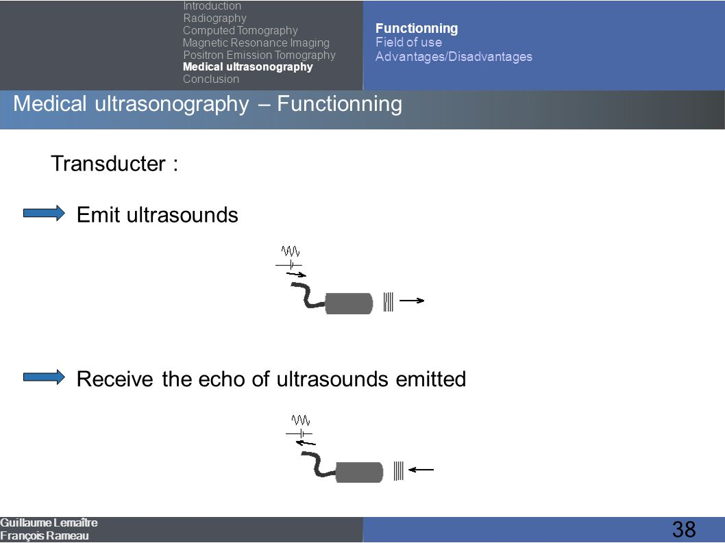 38 Medical ultrasonography – Functionning Guillaume Lemaître François Rameau Introduction Radiography Computed Tomography Magnetic Resonance Imaging P