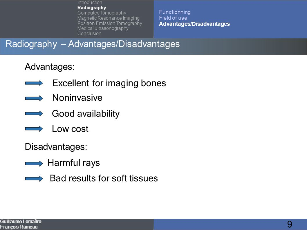 10 Outline Introduction Radiography Computed Tomography (CT) Magnetic Resonance Imaging (MRI) Positron Emission Tomography (PET) Medical ultrasonography Guillaume Lemaître François Rameau Conclusion Introduction Radiography Computed Tomography Magnetic Resonance Imaging Positron Emission Tomography Medical ultrasonography Conclusion Functionning Field of use Advantages/Disadvantages